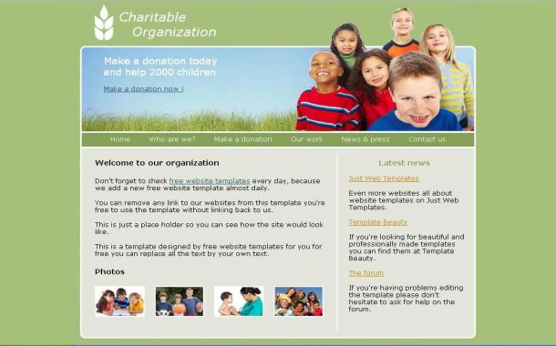 13 Free PSD Website Template Charity Images