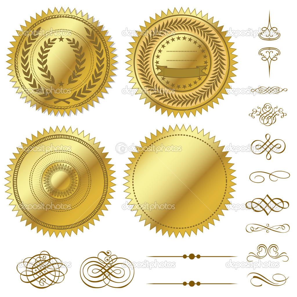 11 metallic vector seals images vector laurel wreath