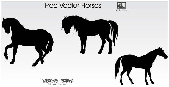 7 Free Vector Horse Silhouettes Images