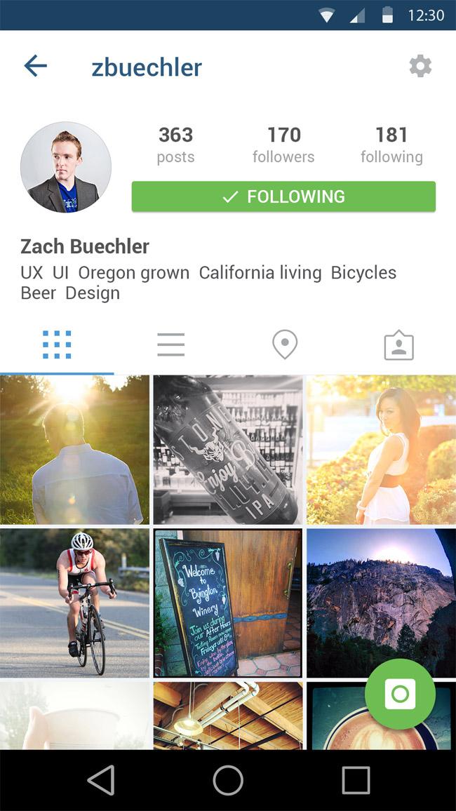Instagram App Layout