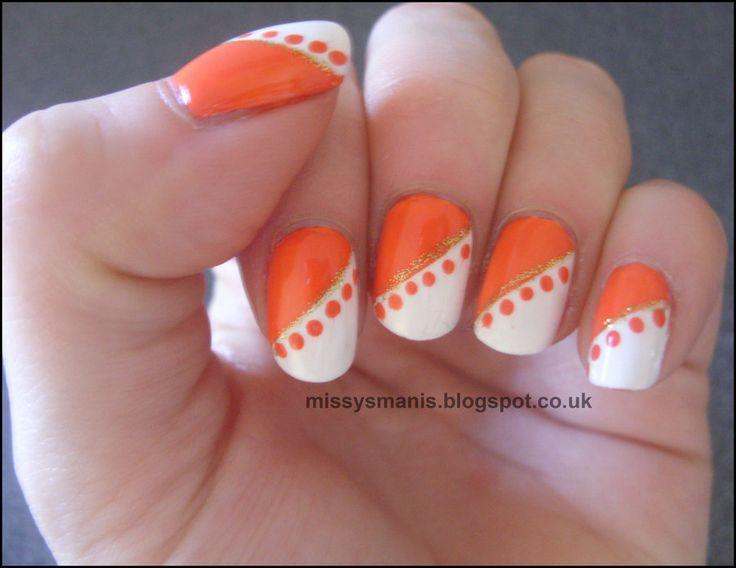 11 Orange Green White Nail Art Designs Images