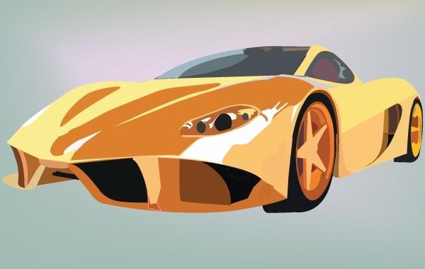 13 Yellow Ferrari Cars Vector Images