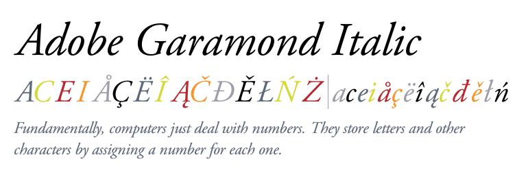 Garamond font italic images examples