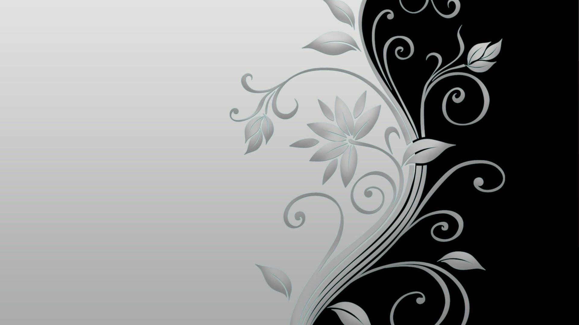 14 Black And White Floral Background Vector Images