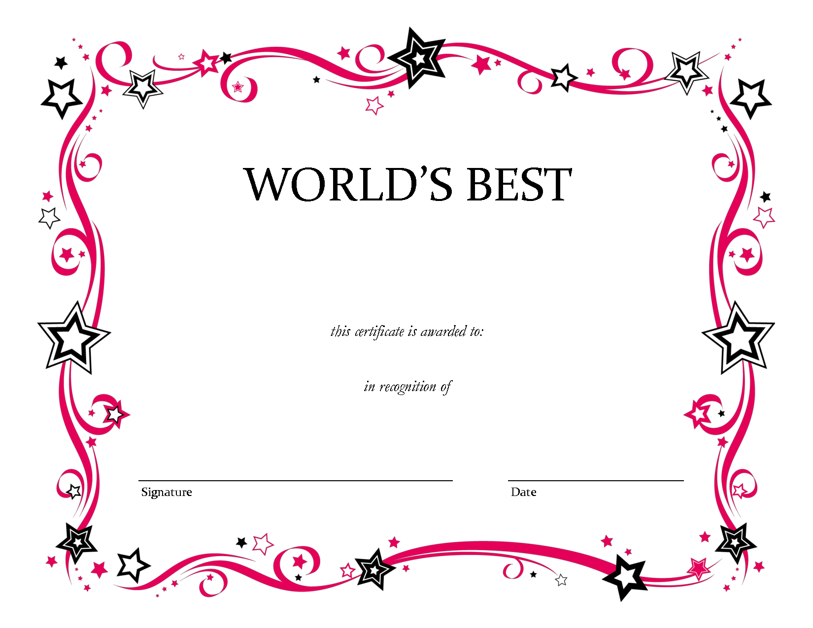 Blank Award Certificate Templates Free
