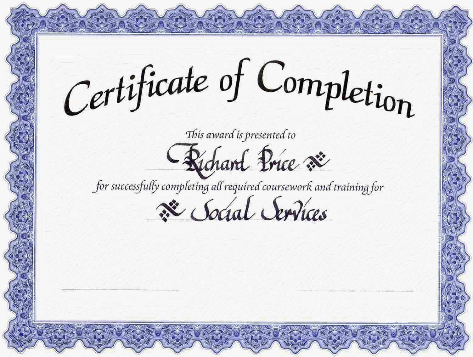 Certificate Completion Template Free Download Gallery Blank Certificate  Templates Free Download Images Templates 10 Certificate Of  Blank Certificates Templates Free Download
