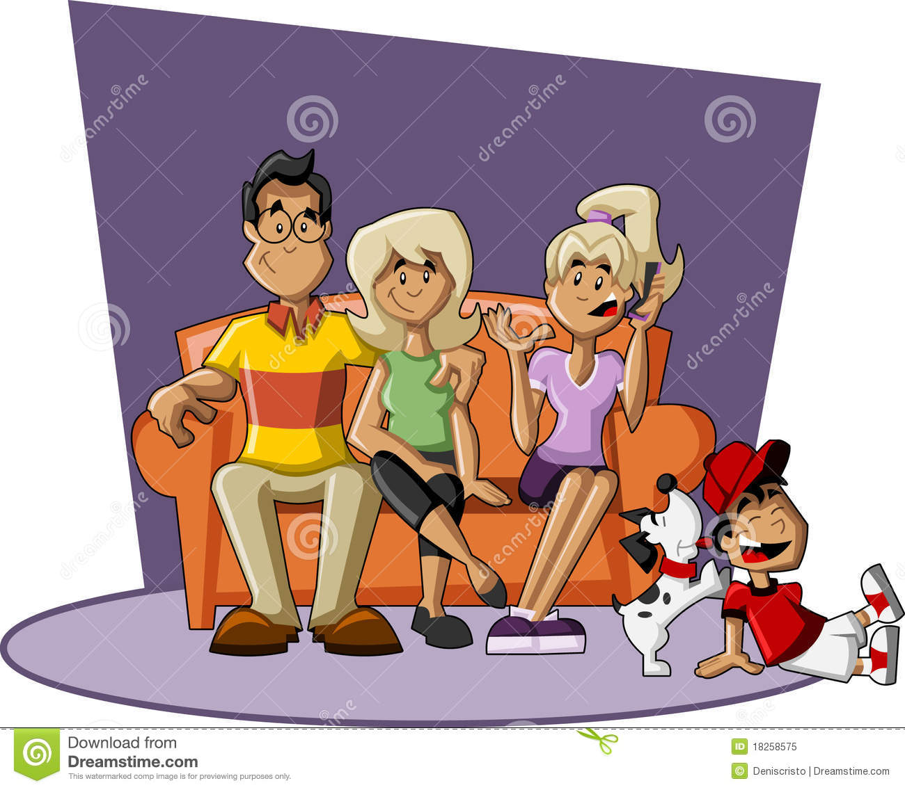 Cartoon Family On Couch