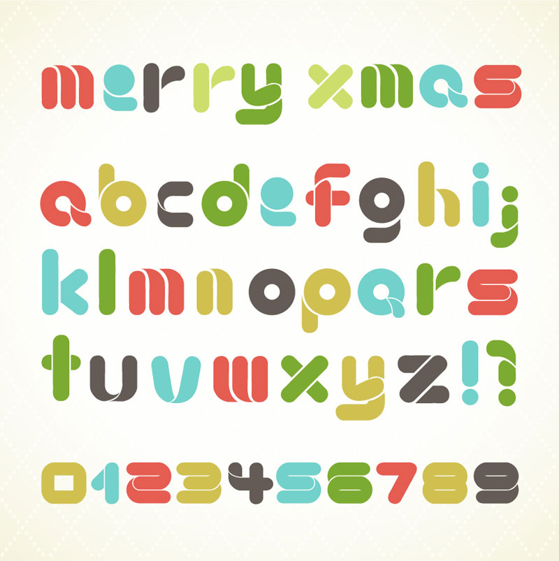 Christmas Alphabet Letters Vector