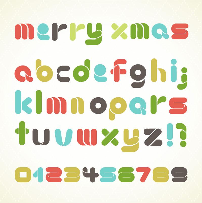 Christmas Alphabet Letters Vector