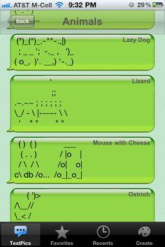 Cute Animal Text Symbols
