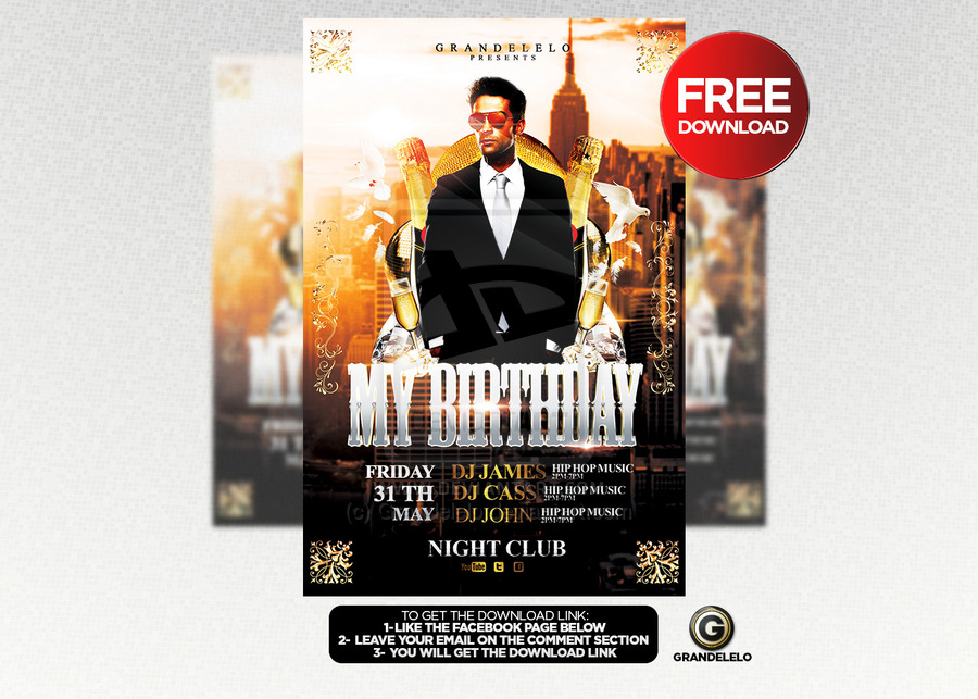 Free Birthday Flyer Template PSD