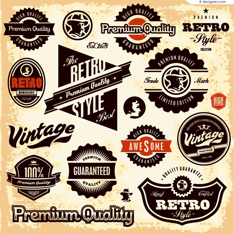 13 Retro Vintage Vector Badge Images