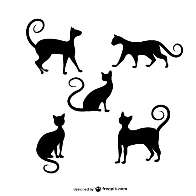 Free Vector Silhouettes Cats