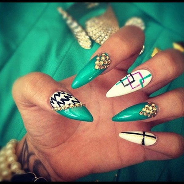 14 Stiletto Nails With Different Designs Images
