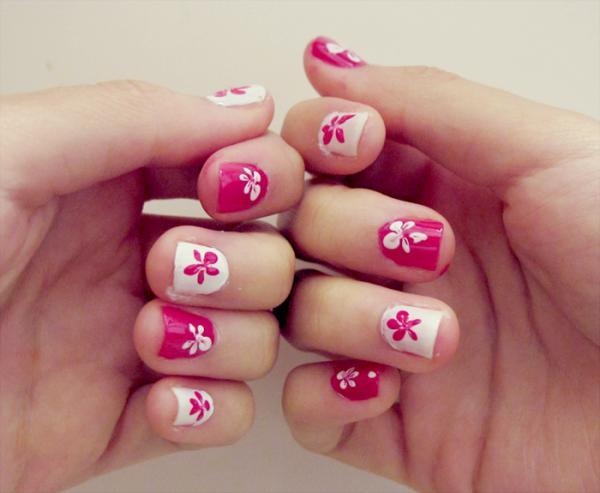 Nail Art Designs Pink White Flowers