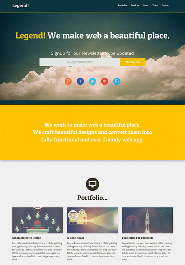 One Page Website Template PSD Free Download