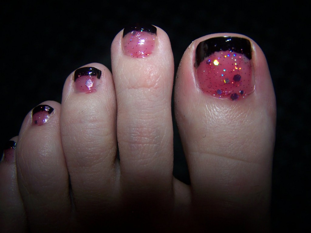 Pink and Black Toenail Pedicure Designs
