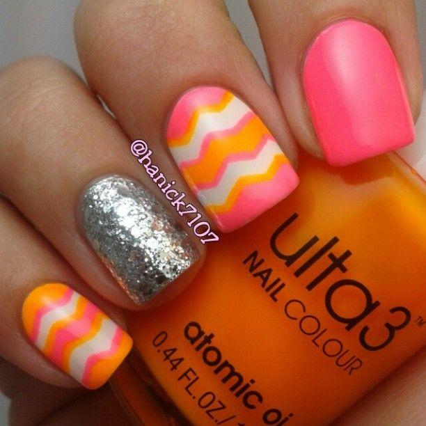 11 Pink And Orange Toe Nail Design Images