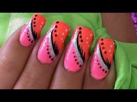 Pink and Orange Nail Art Designs