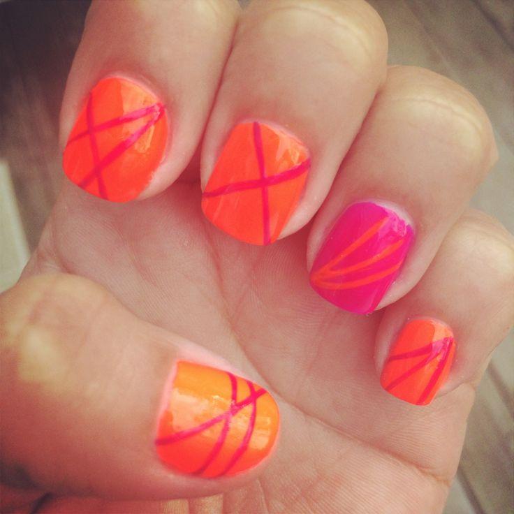 Pink and Orange Nail Designs