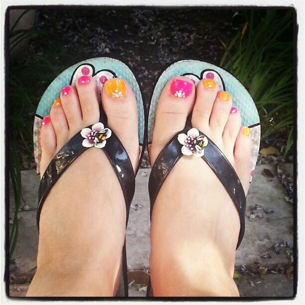 Pink and Orange Toe Nails