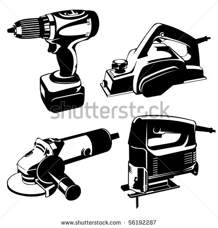 Power Tools Clip Art Black and White