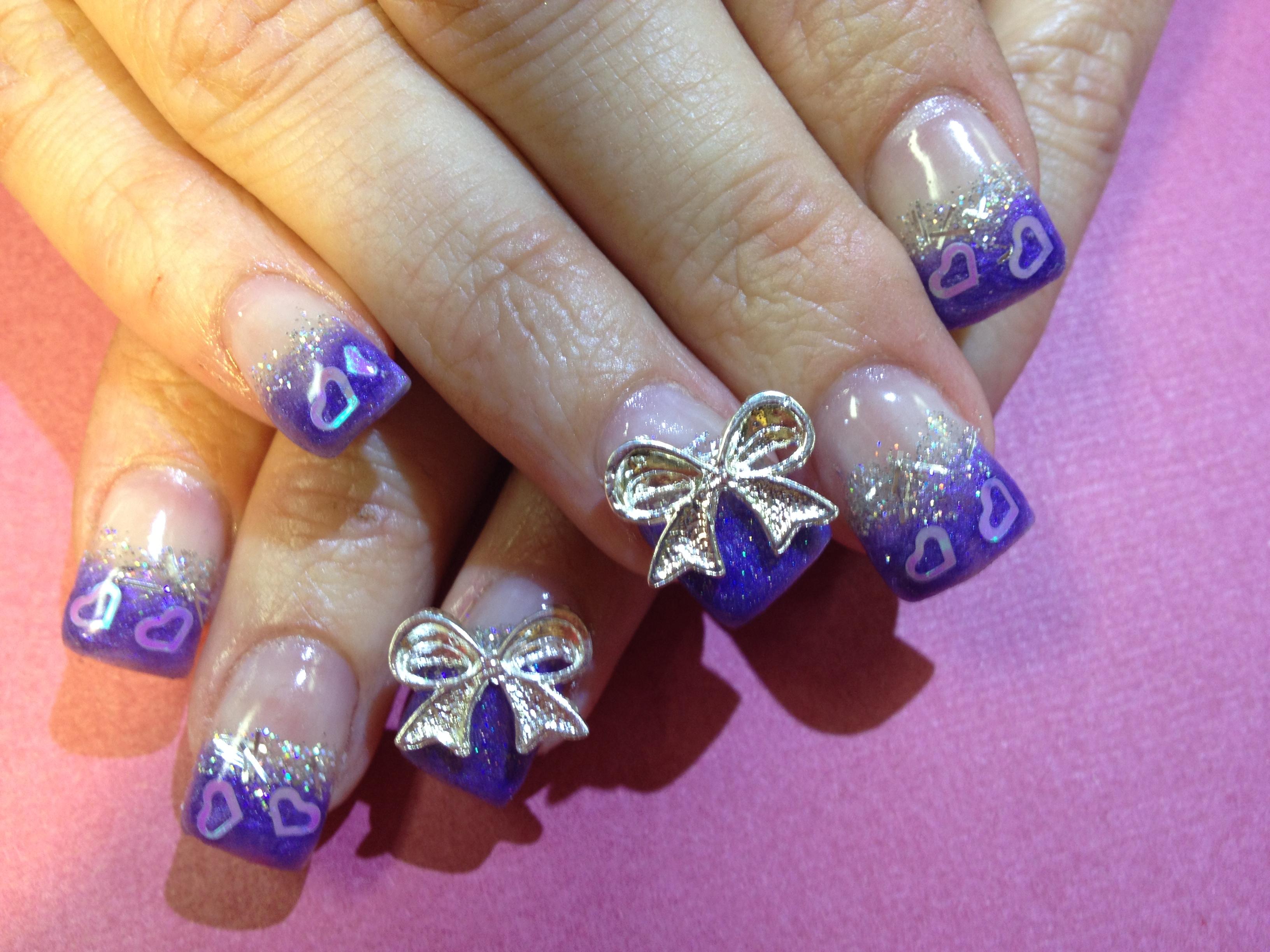 16 Purple With White Toe Nails Design Images Purple Flower Toenail