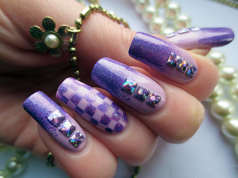 16 Long Purple Nail Designs Images