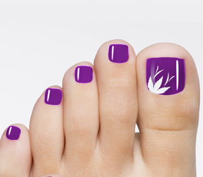16 Purple With White Toe Nails Design Images