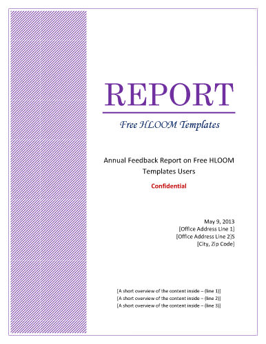 Report Cover Page Template Word