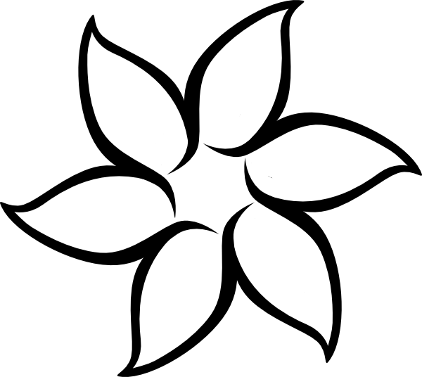 Simple Flowers Outlines Clip Art