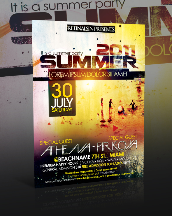 18 Summer Party Flyer PSD Template Images