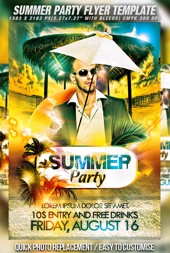 Summer Party Flyer Template Free