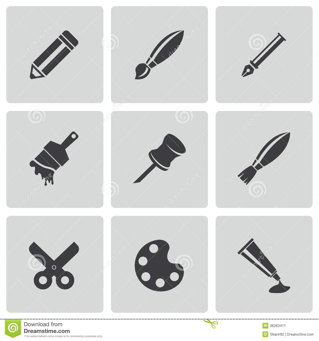 Tools Icons Black and White