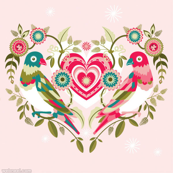 Valentine's Day Folk Art Design