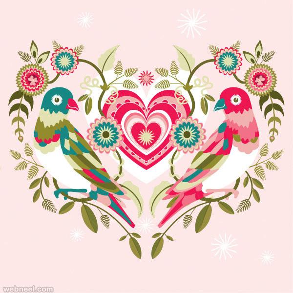 Valentine's Day Folk Art Design