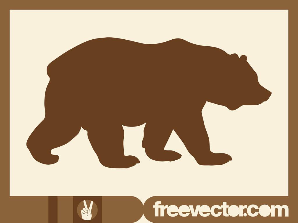 Walking Bear Silhouette Clip Art