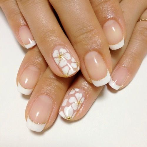 White Nail Art Design Flowers