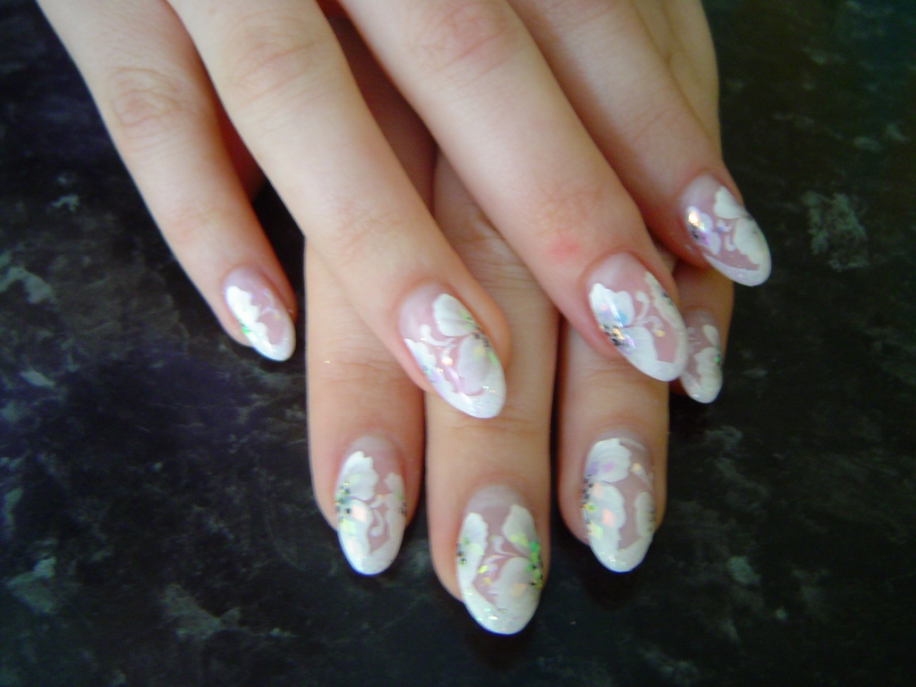 17 White Flower Nail Designs Images Black And White Nail Designs