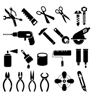 Work Tools Clip Art Black and White