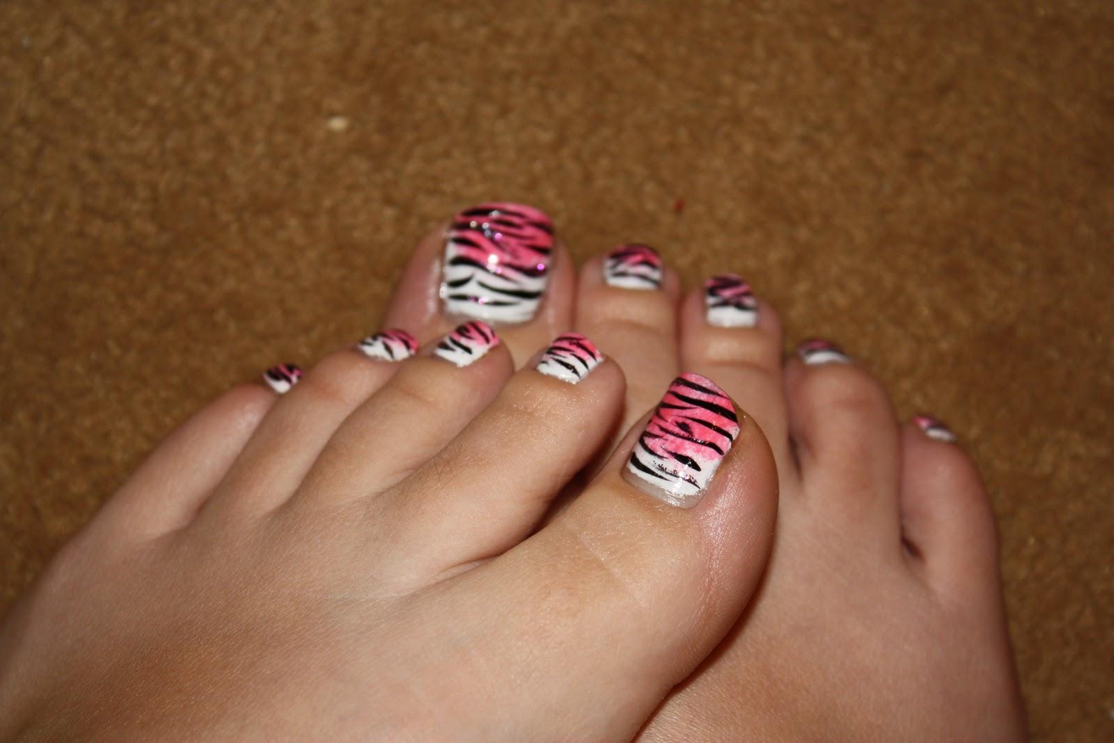 Zebra Toe Nail Design