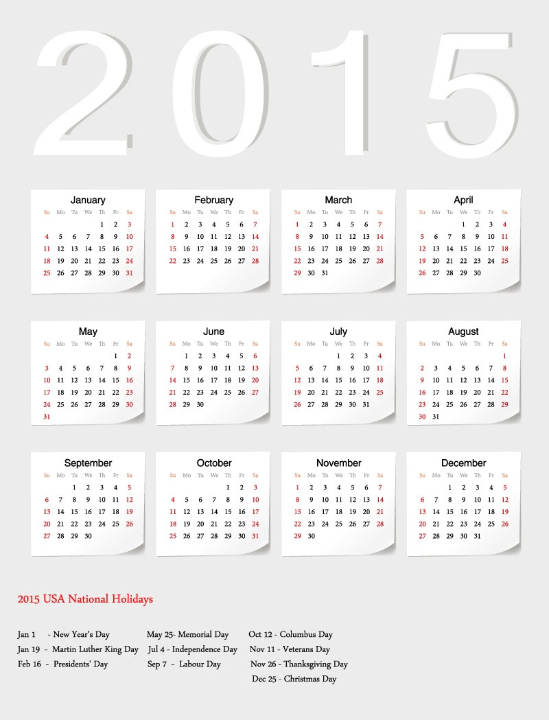 14 USA Calendar 2015 PSD Template Images