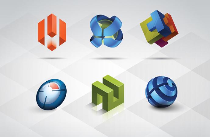 13 3D Logo PSD Templates Images