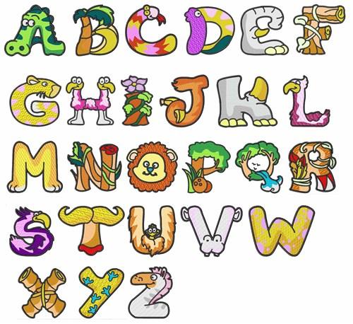 Animal Letters Font Lettering Capital Doodle
