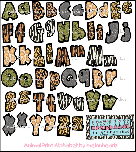 6 Animal Print Letters Font Images