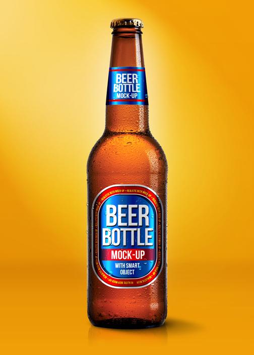 Beer Bottle Mockup PSD