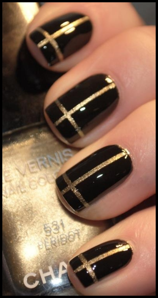 Black and Gold Nails Cross