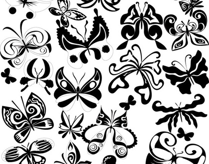15 Butterfly Vectors Black And White Images