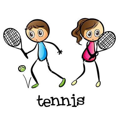 Cartoon Boy and Girl Playing Tennis