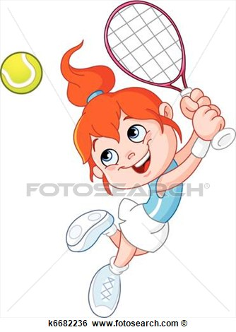 Cartoon Girl Playing Tennis